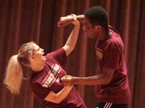 Tessa Rae Dschaak, theater sophomore, with Xavier Alexander, theater sophomore, as a negative consent response at the Since Last Night performed by the theatre in Akin Auditorium on Aug 25th. Photo by Kayla White.