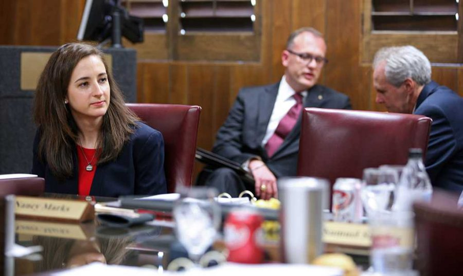 Lindsey Shelley, student regent, listens to discussion at the Board of Regents meeting on Aug, 4. This meeting was her first meeting since being appointed in June.