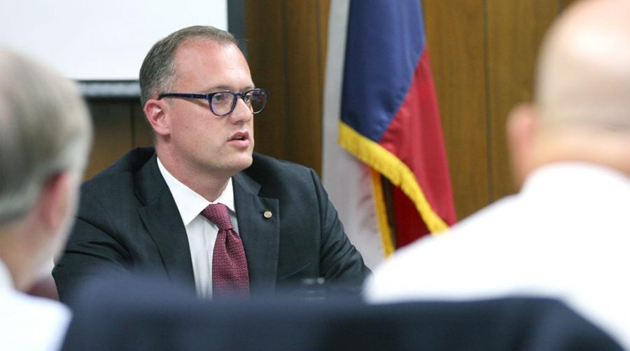 Brent Wallace, North Central Texas College president, discusses expansion with NCTC in Flower Mound during the board of regents meeting Aug. 4. University President Suzanne Shipley said the benefits outweigh the costs when it comes to expanding.