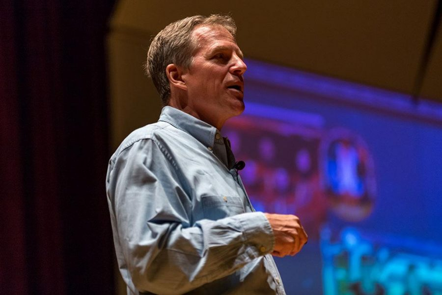 Scott Parazynski, astronaut and medical doctor, gives a lecture as part of the Artist-Lecture series on Sept. 27. Photo by Izziel Latour