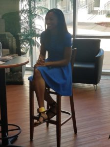 Allyson Felix ready for pictures and autographs. Photo by Stephen Gomez
