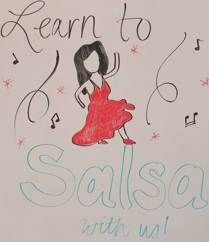 Salsa sign welcoming everyone to dance.