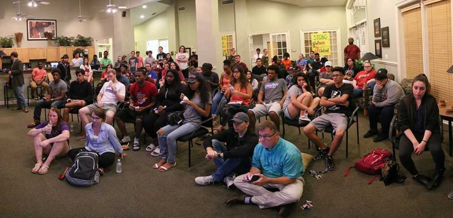 Faculty, staff and students attend the third debate view party in Sunwatcher Clubhouse on Oct. 19. Photo by Izziel Latour.