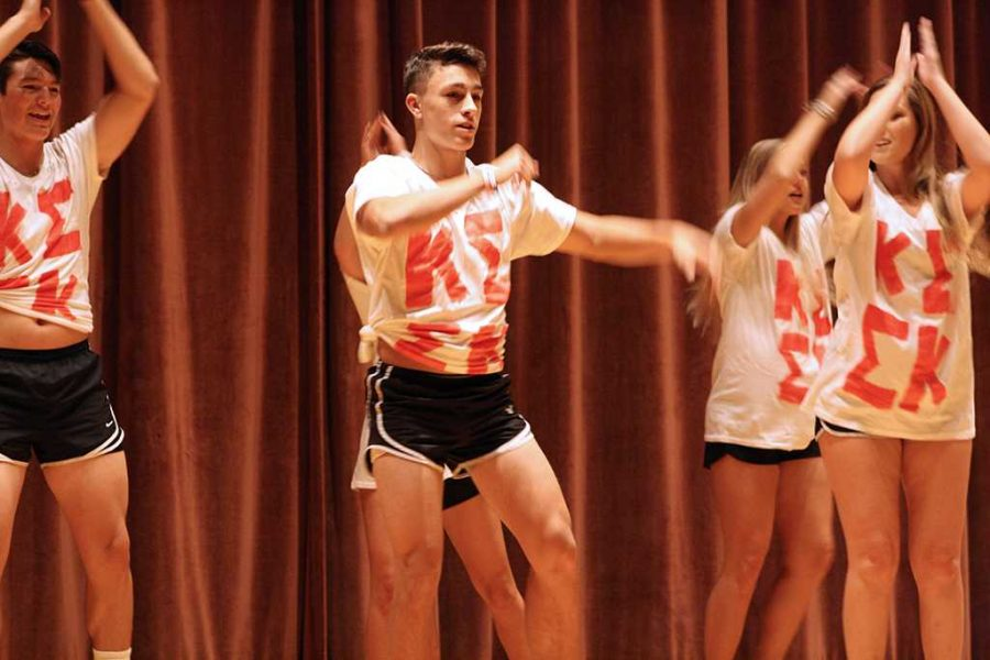 Colton Shank, nursing sophomore, performs at Lip Sync in the Akin Auditorium. Photo by Bridget Reilly