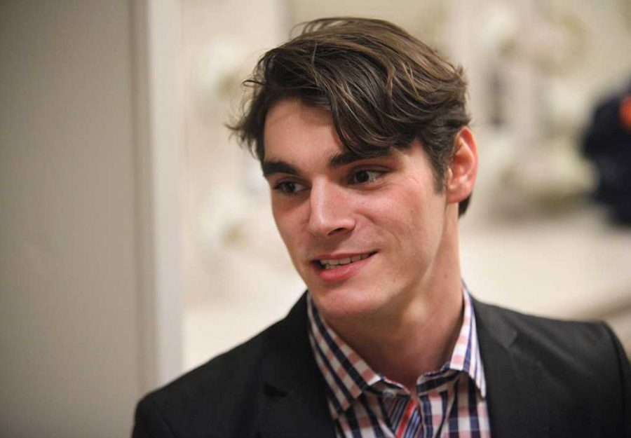 At the second Artist-Lecture Series, R.J. Mitte speaks to students at the Akin Auditorium on the importance of tackling fears, combatting bullying and the stigma behind disabilities, Oct 18. Photo by Bridget Reilly
