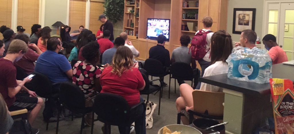 More than 30 people attended the Debate Watch Party in Sunwatcher Club House.