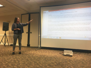 Kristen Garrison, associate vice president of undergraduate education and assessment, speaks to SGA representatives about the FYE plan on Nov. 15. Photo by Kara McIntyre