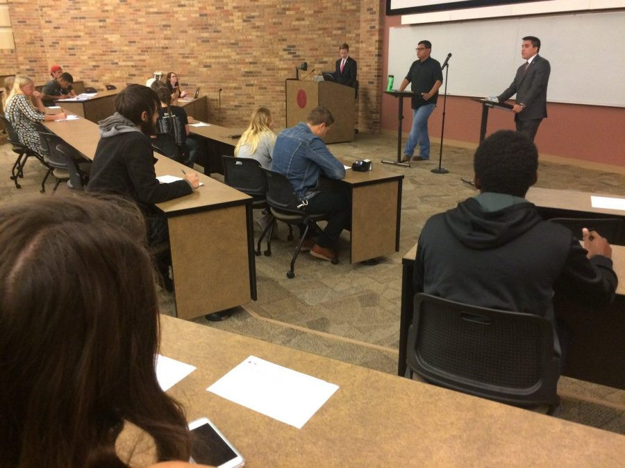 About 70 people attended the student debate Nov. 2 with Marco Torres and Manny Hoffmann discussing election issues.
