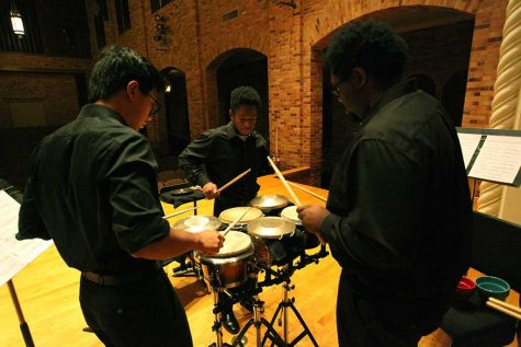 Tim Yap, music education senior left, Gary Boyd, music education junior, and Alvin Waldon, music education sophomore, right, practicing for the
