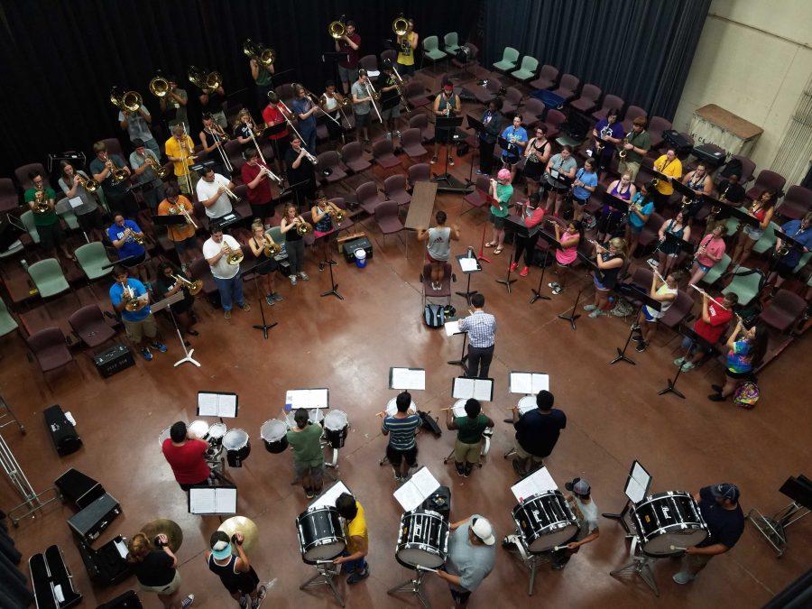 MSU Band memebers practice in the Bea Wood Studio Theater, Aug. 25, 2016. Photo by Caleb Martin.