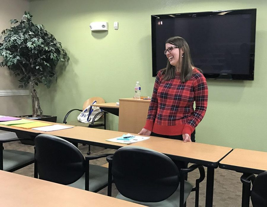 Lori Arnold, licensed professional counselor, teaches the Counseling Center's Academic Workshop: Choosing a Career and Major on Feb. 15. Photo by Sarah Graves