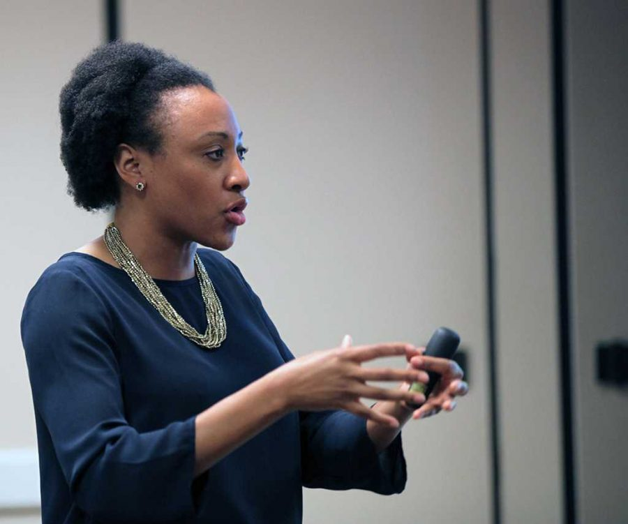 Syreeta Greene, director of equity, inclusion, and multicultural affairs, speaks to students and faculty about the North Dakota Access Pipeline and the effects it will have on Native American land. Photo by Bridget Reilly