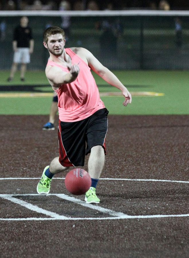 Jeffrey Hamon, exercise physiology sophomore, throws the ball Feb. 23. Photo by Timothy Jones