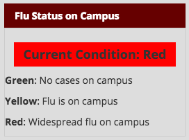 According to the Vinson Health Center website, the University is on Condition Red.