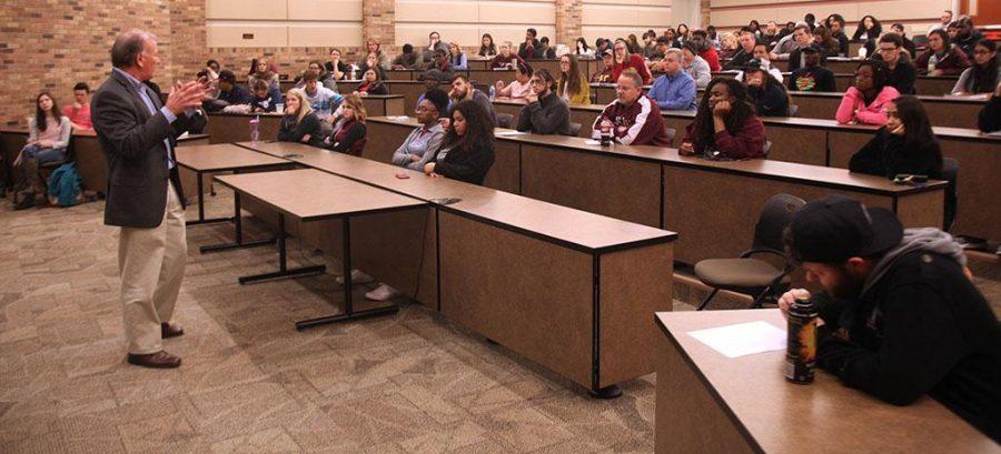 Pablo Garcia-Fuentes, assistant professor of economics, speaks at Streich Lecture. Photo by Timothy Jones