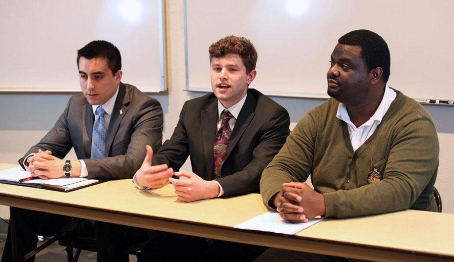 Manny Hoffman, Jacob Warren, Damian DeSilva at Student Government Association Debate.byTimothy Jones
