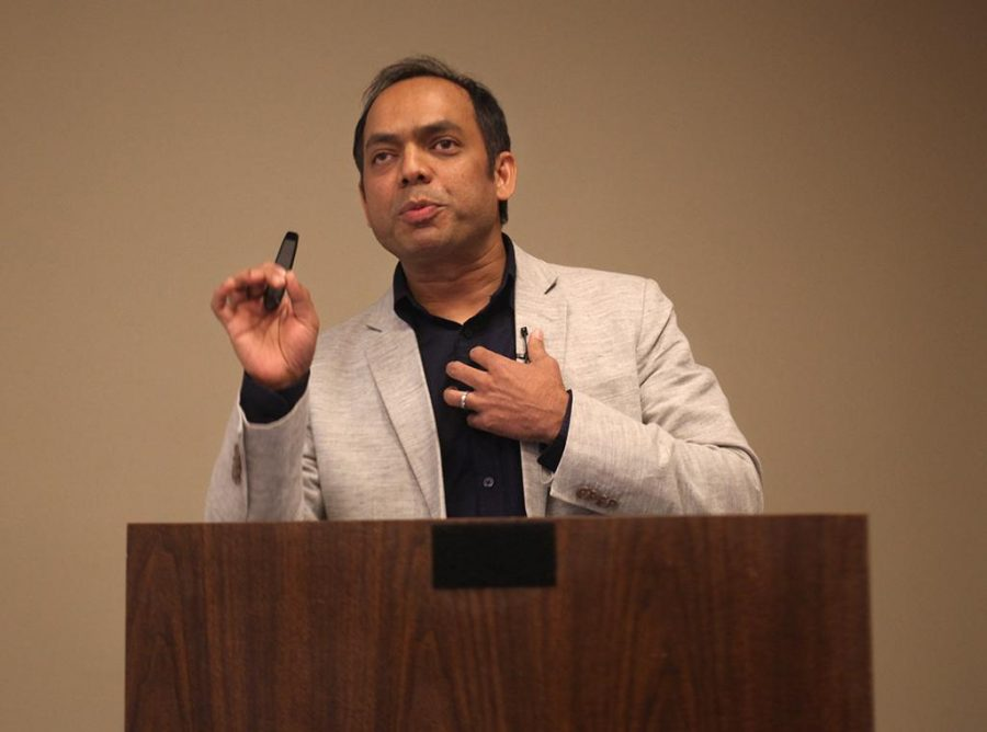 Rais Bhuiyan, victim of a Dallas shooting, makes appearance at Wichita Falls Museum of Art to speak on his survival and progress to forgiveness on April 18. Photo by Arianna Davis