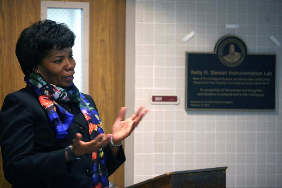 Former Provost Betty Stewart thanks the crowd after a room in Bolin was dedicated in her honor April 27. Contributed photo by Bradley Wilson