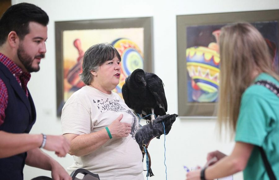 Connie Palkowetz, Wild Bird Rescue representative, showcases a vulture for students to watch and observe on April 20.