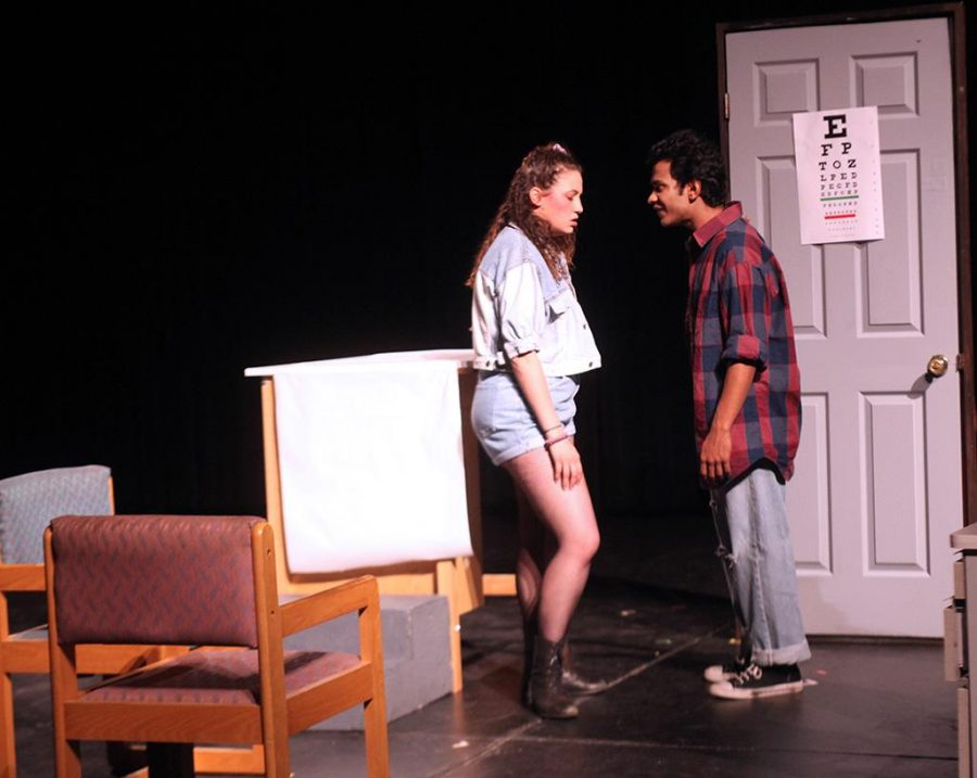 Ellanor Collins, theater junior, and Denush Vidanopothirana, theater and mass communication sophomore, rehearse their lines for the student-produced one-act plays on April 28-29. Photo by Leah Bryce