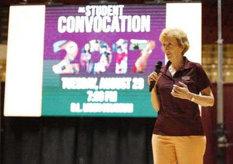 University President Suzanne Shipley gives a motivational speech about