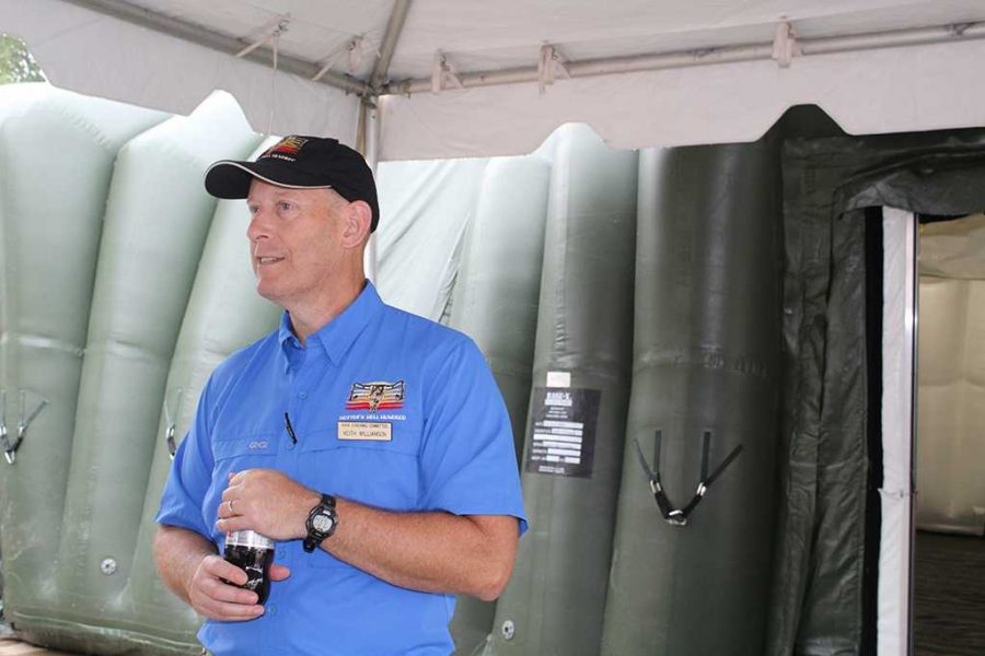Keith Williams (Health Tent Coordinator), talks to reporter at the medical tent at Hotter N' Hell 100 on August 25. Photo by Jessica Wollenberger