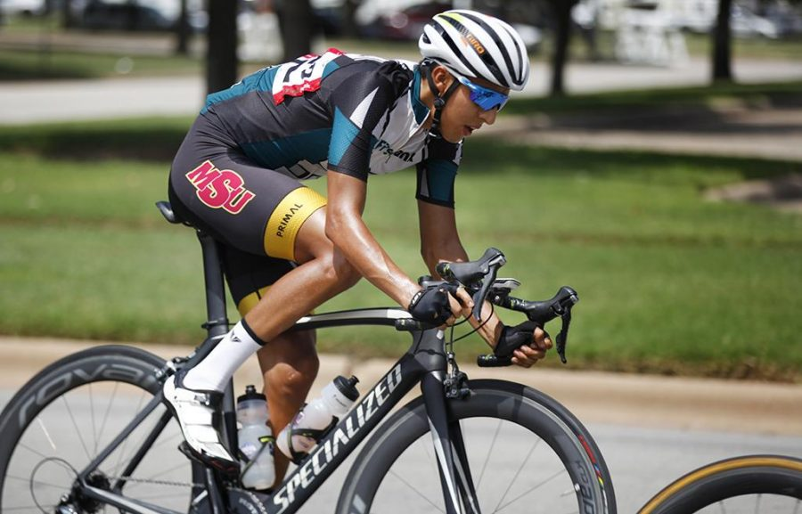 Pablo Cruz, exercise physiology, rides in the final men's crit race during the Hotter'N Hell 100 Aug. 27. Photo by Rachel Johnson