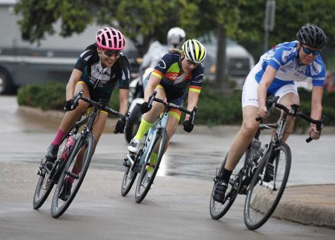 Brissia Montalvo, exercise physiology graduate student, rounds the last turn of the track during the crit race during the Hotter'N Hell 100 Aug. 25. Photo by Rachel Johnson