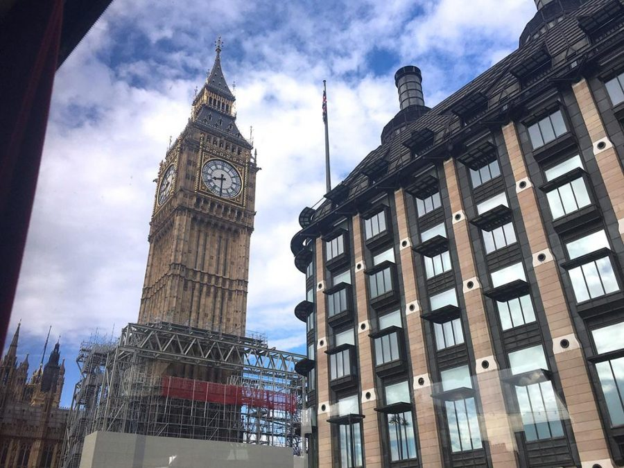 A view of Big Ben from the bus window in London. Photo by Kara McIntyre