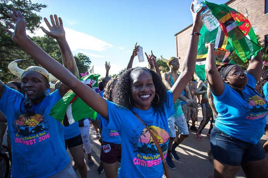Danielle Dowe, biology senior, at the Caribfest parade on Oct. 4, 2016. Photo by Izziel Latour