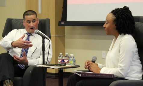 Patrick Coggins, MSU chief of police, talks to Syreeta Greene, director of the Office of Equity, Inclusion & Multicultural Affairs, about immigration and law enforcement for the Critical Conversation Series held in the Legacy Multipurpose Room on Sept 18. Photo by Marissa Daley