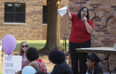 Mel Marinez, pastor at Metropolitan Community Church, gives a speech about hate and how to overcome it for the Resist Hate rally held in Sunwatcher Plaza on Sept. 1. Photo by Marissa Daley