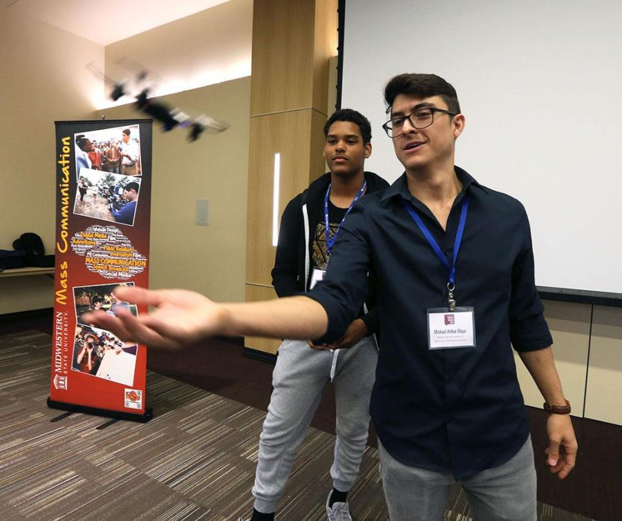 Michael Olaya discusses drone usage at Midwestern State University Social Media Day, Sept. 25, 2017. Photo by Bradley Wilson