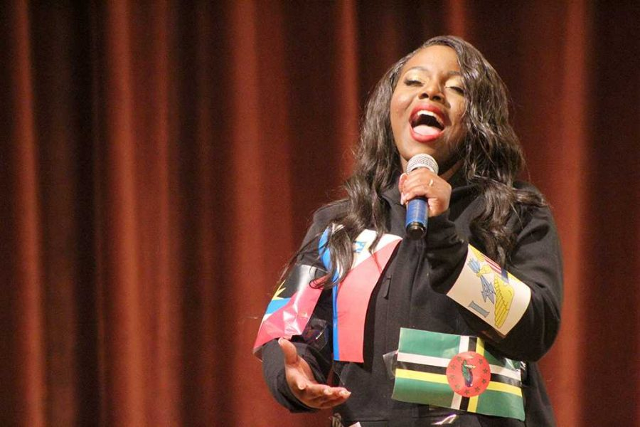 Valandra Jno Marie, freshman management, hits high notes during the talent portion on the 2017 Mr. and Mrs. Caribfest in Akin Auditorium on Sept 28. 2017 Photo by Marissa Daley