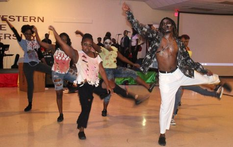 The group O.K turns zombie as they dance to the song Carnival Jumbie for the 2017 Caribfest Soca Show hosted in the Sikes Lake Center on Sept. 29. Photo by Marissa Daley