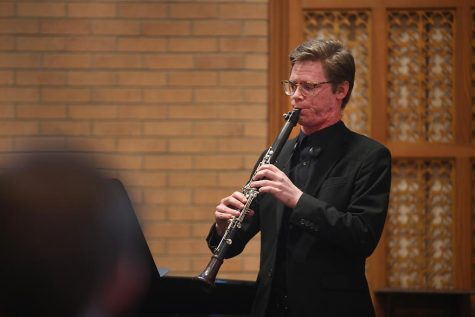 Tyler Lasseter plays Premiere Rhapsody by Claude Debussy at the Burns Chapel Opening Concert, Oct. 20, 2017. Photo by Brendan Wynne
