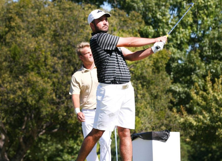 Trip Hobson, marketing senior, hits the shot while being in the lead during the MSU Invitational Golf Tournament at the Wichita Falls Country Club on Tuesday, Oct. 17, 2017. Photo by Harlie David