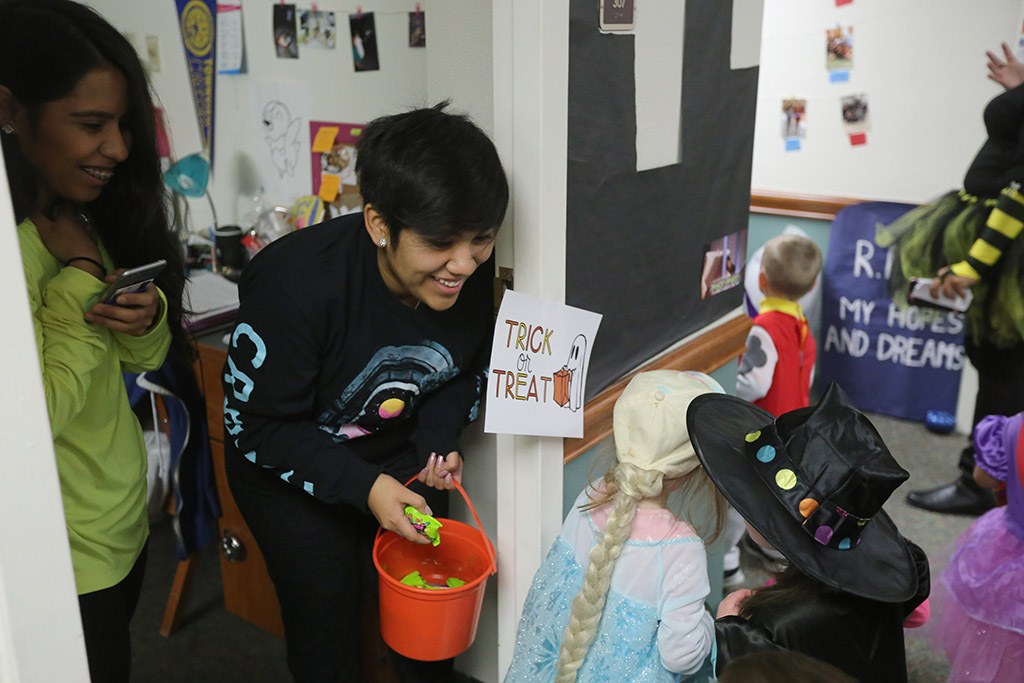 Student residents get to trick or treat too