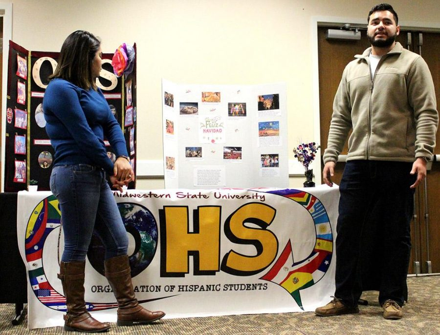 Cynthia Hubbard, marketing sophomore, and Javier Fuerte, radiology sophomore, talk about OHS and what they are thankful for during the Give Thanks Celebration held in the Clark Student Center Comanche Nov.29. Photo by Marissa Daley