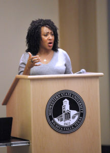 Syreeta Greene, director of equity, inclusion, and multicultural affairs moderates the Critical Conversation Series, speaking about the Campus Climate survey on sexual misconduct. Nov 27. Photo by Bridget Reilly