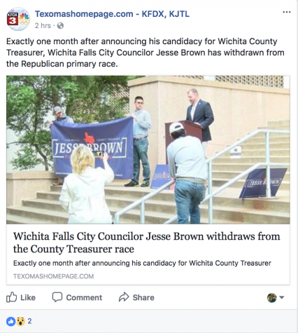 KFDX3 News reports Jesse Brown has suspended his candidacy from the county treasurer position on Nov. 10, 2017
