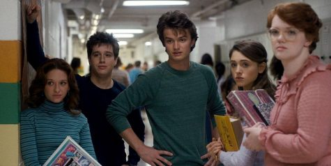 Chester Rushing, Joe Keery and Natalia Dyer in Stranger Things (2016). Photo courtesy of IMDB