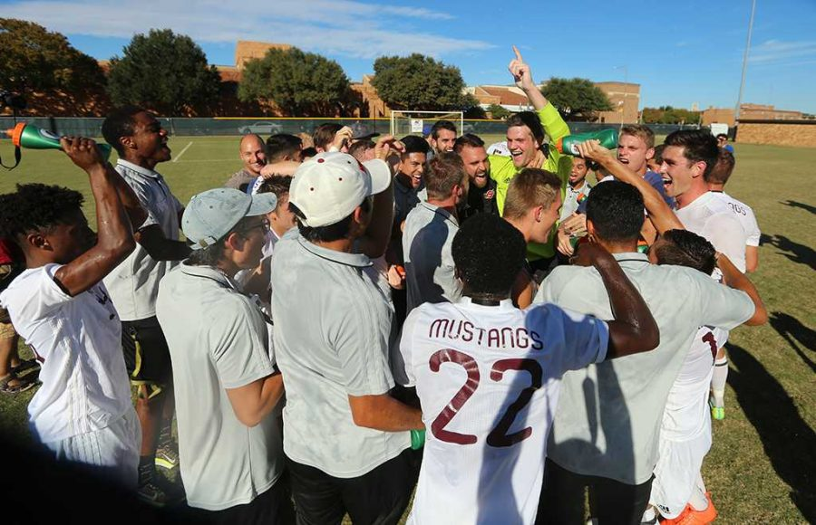 Players react after winning the Heartland Conference championship game against St. Edward's University. MSU won 1-0. Photo by Bradley Wilson