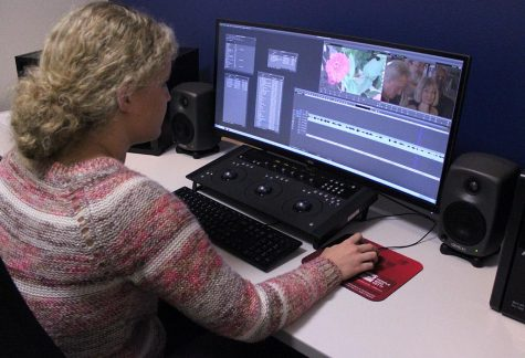 Haleigh Wallace, mass communication senior, works in the broadcast department editting bay on her and her groups senior production final video project that is due Monday, Dec. 10, 2017. Wallace's group's 15 minute documentary is titled 'Mom: Mother of Many'  and her group members include Hanna Heuring, Kara McPherson, and Noah Fazekas. Photo by Rachel Johnson