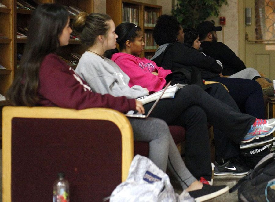 Moffett Movie Madness shows the movie Scrooged for students at MSU to enoy in the Moffett Library on Dec. 5, 2017. Photo by Harlie David
