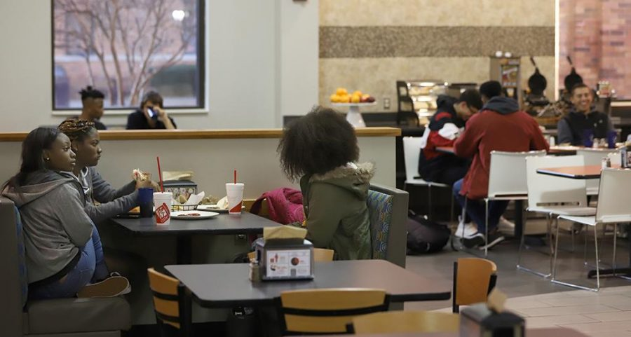 Keiaena Williams, kinesiology freshman, Lachele Donn, biology freshman, Kayla McDade, radiology freshman, enjoy their food at Mesquite Dining Hall Tuesday, Jan 16, 2018. Photo by Francisco Martinez