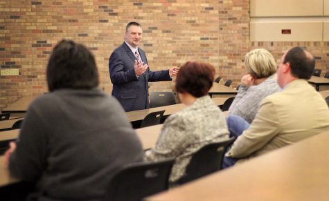 Jeffrey Killion, interim dean of Gunn College of Health Science & Human Services, spoke to a group of peers and MSU faculty as a part of the process of applying for the job of Dean of the Gunn College of HSHS, held in Dillard 101, Tuesday, Jan 30, 2018. Photo by Rachel Johnson