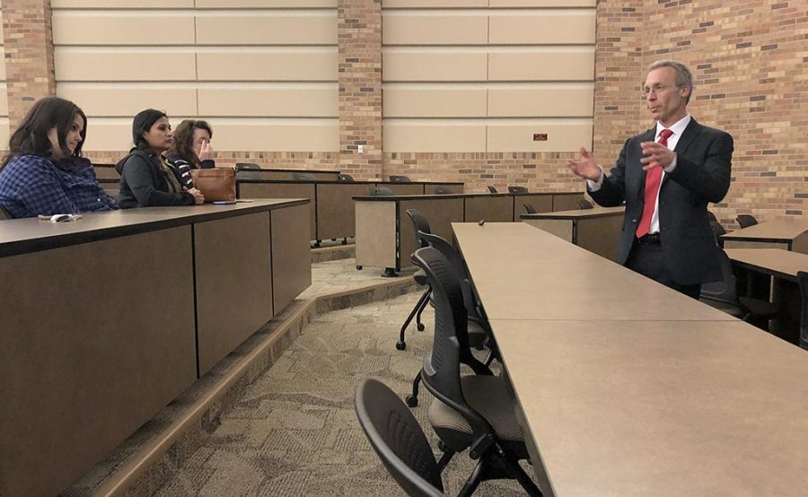 Health Science dean candidate Tim Laurent proposes to faculty why he is a good fit for Gunn College of Health Sciences and Human Services on Friday, Jan. 19, 2018. Photo by Chloe Phillips