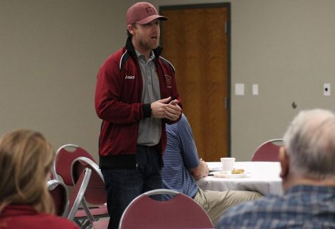 Koby Styles, cross country and track coach, gives an update of the Track Season and where he thinks the team will continue to grow into, during the Lunch with Mustangs held at Wichita Falls Museum of Art, Tuesday, Jan. 30, 2018. Photo by Rachel Johnson