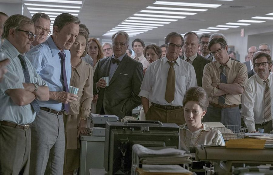 Tom Hanks, Meryl Streep, Philip Casnoff, David Cross, Tracy Letts, Bradley Whitford, Jessie Mueller, and Carrie Coon in The Post (2017) Photo by Photo Credit: Niko Tavernise